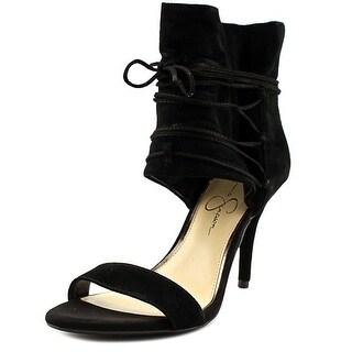 Jessica Simpson Madeena Women Open Toe Suede Black Sandals