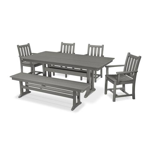 POLYWOOD Traditional Garden 6-Piece Farmhouse Dining Set with Bench