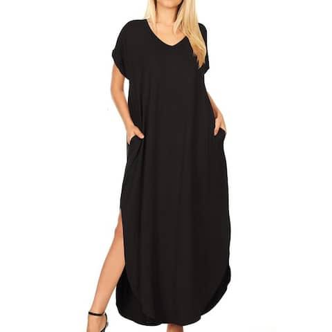 Women's Casual Loose Pocket Long Sleeve Maxi Dress
