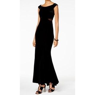 Xscape NEW Deep Black Womens Size 6 Illusion Sheath Velvet Ball Gown
