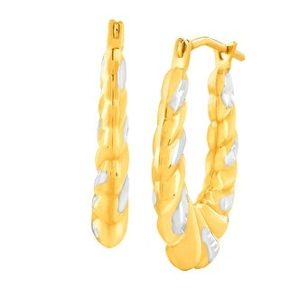 Medium Scalloped Hoop Earrings in 14K Gold-Bonded Sterling Silver - Two-tone