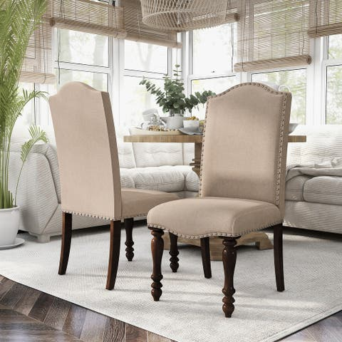 Furniture of America Ketz Traditional Beige Dining Chairs (Set of 2)