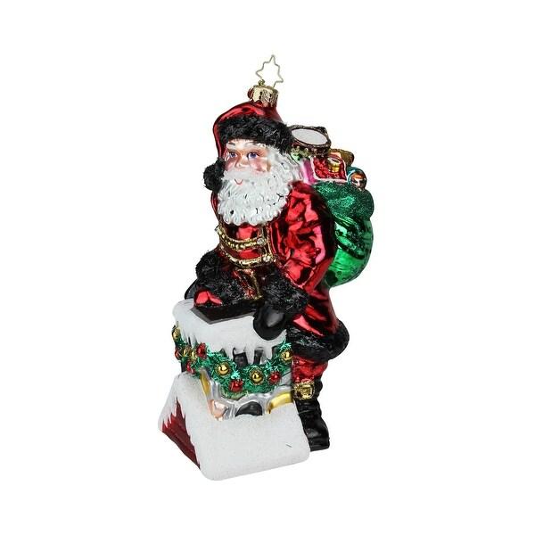 "8.5"" Christopher Radko ""Chilly Chimney Chap"" Glass Christmas Tree Ornament #1019394 - RED"