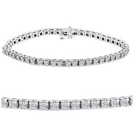 Amanda Rose AGS Certified 3ct tw Diamond Tennis Bracelet in 14K White Gold