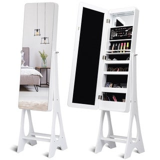 Costway LED Jewelry Cabinet Standing Armoire Organizer w/ Bevel Edge Full Size Mirror - White