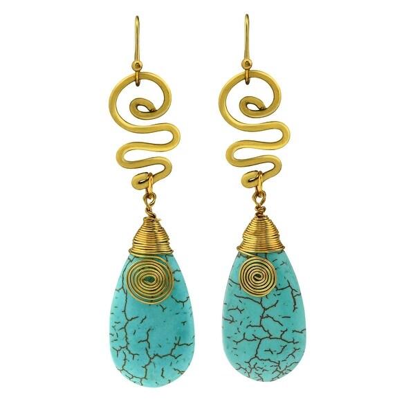 Handmade Brass Turquoise Spirit Swirl Dangle Earrings (Thailand). Opens flyout.