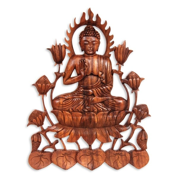 """Handmade Enlightened Buddha Wood Relief Panel (Indonesia) - 13.5"""" H x 10.25"""" W x 0.8"""" D. Opens flyout."""