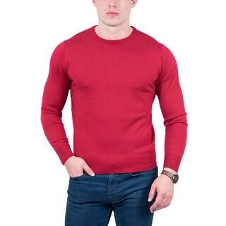 Maglierie Di Perugia Red Crew Neck Classic Sweater