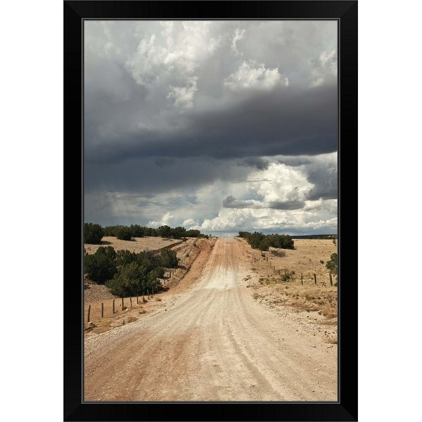 """""""Looking down a dirt country road in New Mexico with rain clouds in sky"""" Black Framed Print"""