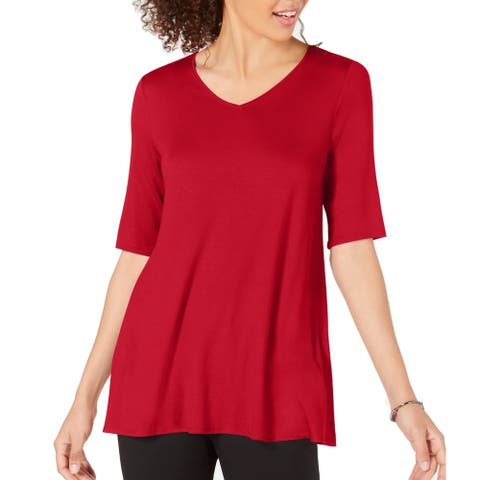 Alfani Womens Blouse Chinese Red Size Medium M V-Neck Tunic Swing