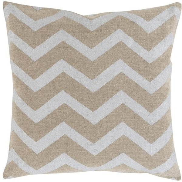 "18"" Dove Gray and Camel Brown Chevron Hand Woven Decorative Throw Pillow"
