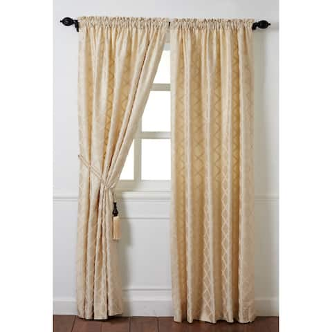 """Cottage Home Magalie Ivory Silk 84"""" Curtain Drapery Panel"""