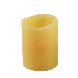 """4"""" Golden Amber Battery Operated Flameless LED Wax Christmas Pillar Candle"""