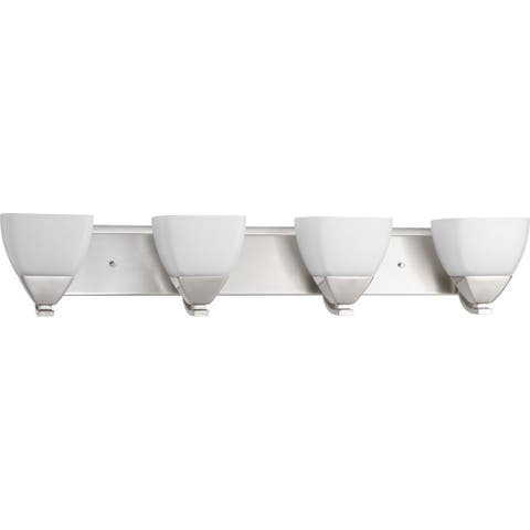 Appeal Collection 4-Light Brushed Nickel Etched White Glass Modern Bath Vanity Light