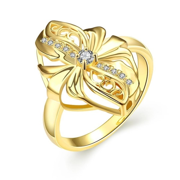 Abstract Gold Floral Petal Ring