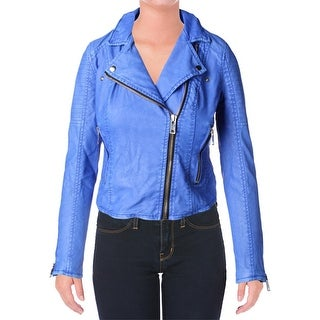 Blank NYC Womens Faux Leather Zipper Motorcycle Jacket