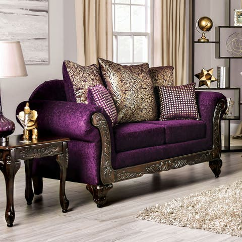 Furniture of America Grendel Traditional Purple Chenille Loveseat