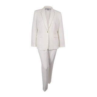 Tahari ASL Women's Notched-Collar Pantsuit - Ivory White - 18