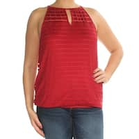 INC Womens Red Sleeveless Keyhole Top  Size: L