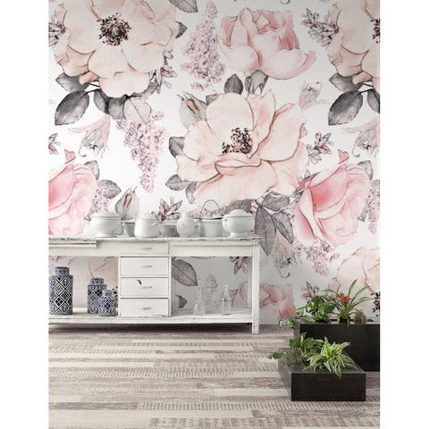 Soft Pink Rose Flower Pattern REMOVABLE TEXTILE Wallpaper