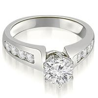 1.00 cttw. 14K White Gold Channel Set Round Cut Diamond Engagement Ring