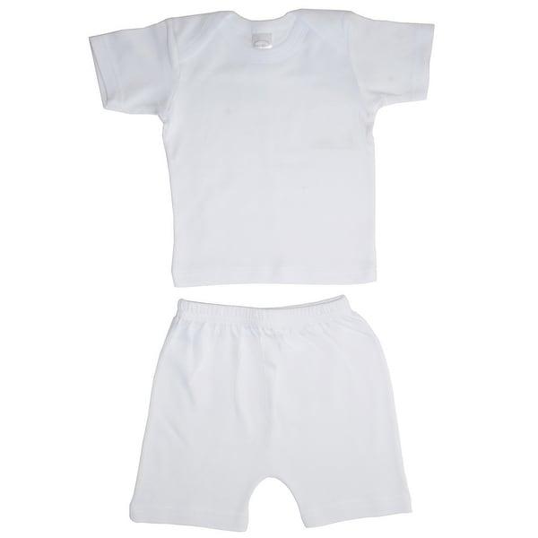 Bambini Baby Girls White Interlock Short Sleeve Lap T-Shirt Shorts Set