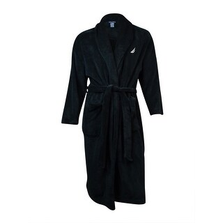 Nautica Men's Plush Solid Robe (OS, True Black) - True Black - os
