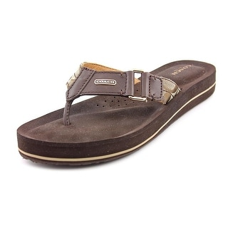Coach Jada Open Toe Leather Flip Flop Sandal