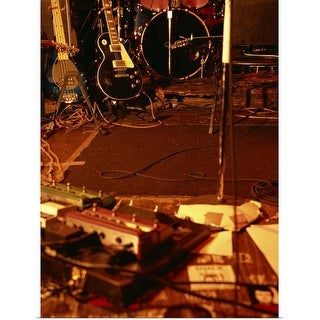 """""""Guitars and band equipment on stage"""" Poster Print"""