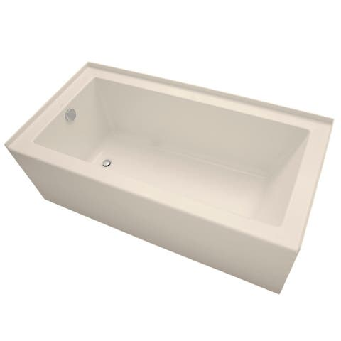 """Mirabelle MIRSKS6030L Sitka 60"""" X 30"""" Acrylic Soaking Bathtub for Three Wall Alcove Installations with Left Drain"""