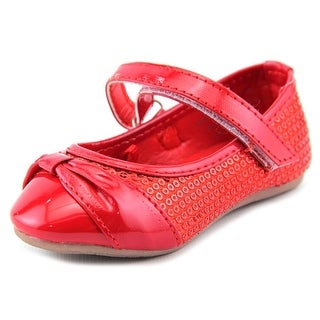 Rugged Bear Sequin Bow Flat Toddler Round Toe Synthetic Red Ballet Flats