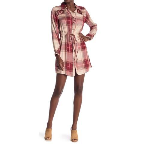 Angie Women's Dress Red Size Medium M Plaid Drawstring Button T-Shirt