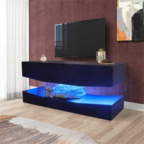 AOOLIVE Black TV Stand with storage shelves,MDF