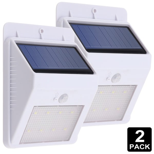 LED Solar Powered Outdoor Wall Light, Motion Activated Wireless (WHITE)