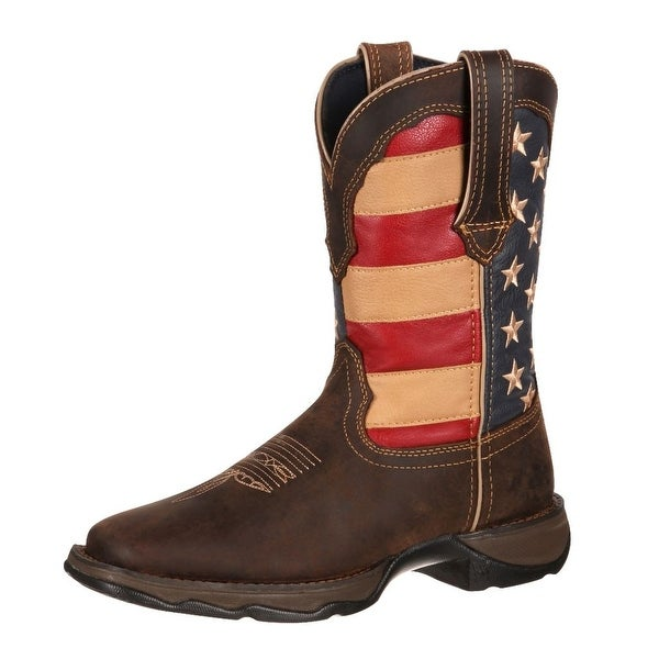 "Durango Western Boots Womens 10"" Rebel Patriotic Pull On Brown"