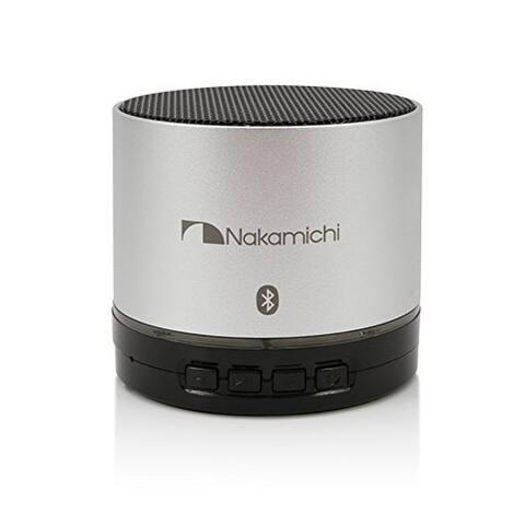 Nakamichi BT06S Series Super Bass Wireless Round Bluetooth Speaker - Silver - 3.5 x 3 x 4