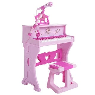 Costway 37 Key Kids Electronic Keyboard Mini Grand Piano Toy w/ Microphone & Stool Pink