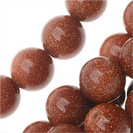 Goldstone Gemstone Beads, Round 8mm, 15.5 Inch Strand, Copper Gold