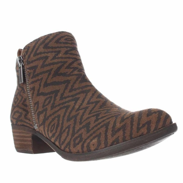 Lucky Brand Basel Side Zip Ankle Boots, Dark Earth