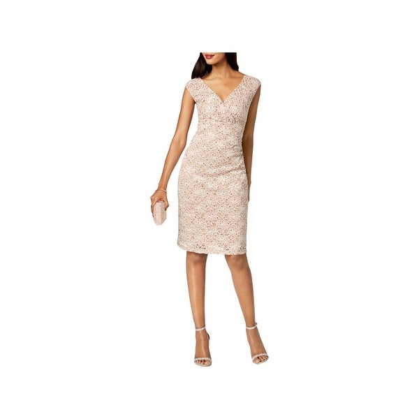 Connected Apparel Womens Cocktail Dress Lace Knee-Length