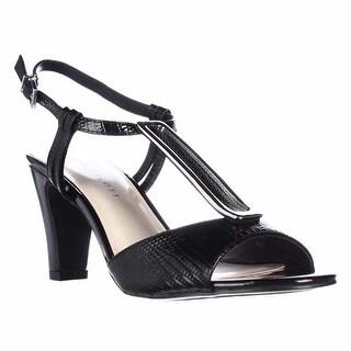 KS35 Lorah Metal T-Strap Dress Sandals - Black