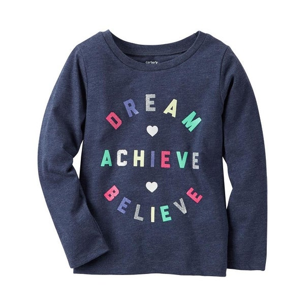 Carters Girls 12-24 Months Long-Sleeve Dream Achieve Believe Tee