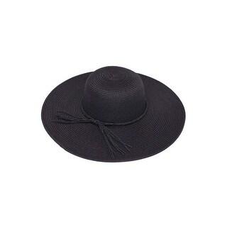 Womens Straw Wide Brim Floppy Sun Hat w/ String Band