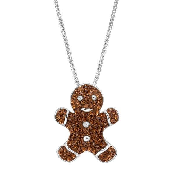 Crystaluxe Gingerbread Man Cookie Pendant with Swarovski Crystals in Sterling Silver - Brown