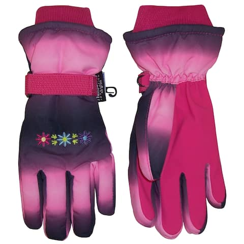 d64e8e0c0f9 NICE CAPS Girls Thinsulate and Waterproof Multi Color Tye Dye Floral Ski  Gloves