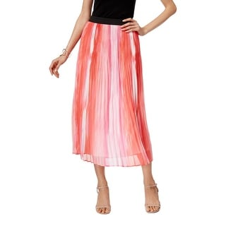 NY Collection Womens Maxi Skirt Printed Shutter Pleat