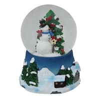 "4.75"" Musical Snowman, Red Cardinal and Christmas Tree Snow Globe - White"