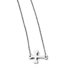 Chisel Stainless Steel Polished Sideways Cross Necklace (1 mm) - 16.5 in