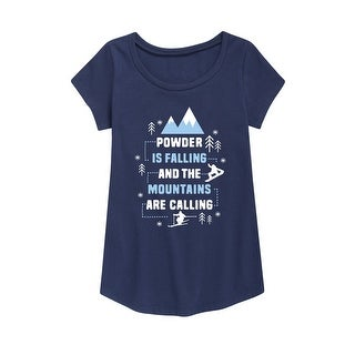 Powder Is Falling Mountains Are Calling - Youth Girl Short Sleeve Curved Hem Tee