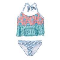 Azul Little Girls Multi Color Print Ruffle Tankini 2 Pc Swimsuit